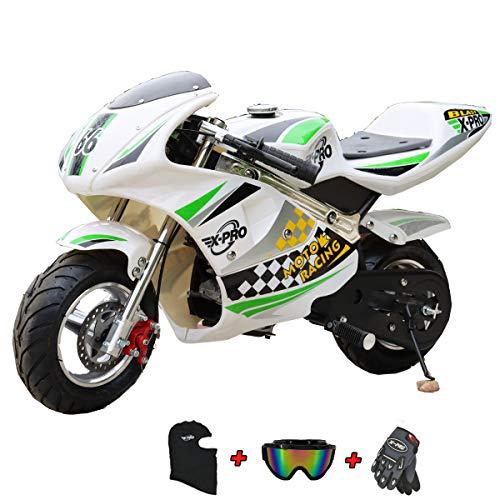 X-PRO 2020 Blast Mini Gas Pocket Bike, Kids Mini Bike, Gas-Powered Mini Pocket Motorcycle, Perfect Mini Pocket Bike for Kids with Gloves, Googles and Face Mask(Green)