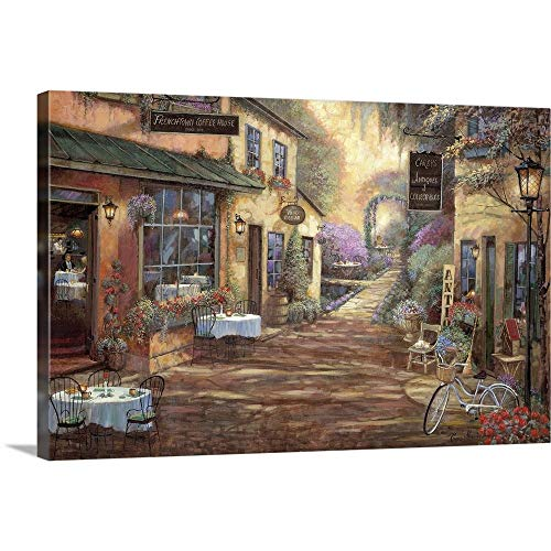 "French Town Canvas Wall Art Print, 36""x24""x1.25"""