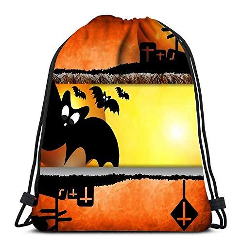 Ahdyr Mochila con cordón Bolsas Deportivas Cinch Tote Bags Diseño del día de Halloween en Naranja para Viajes y Almacenamiento