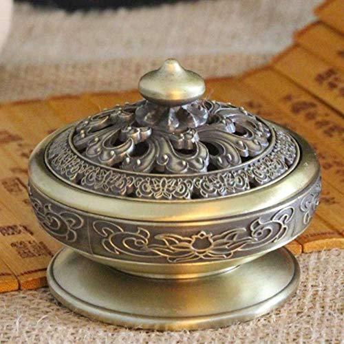 Homie Titular Budista Tibetano Decoración para el hogar Aleación de Zinc Yoga Té Brasero Ornamento Artesanía Quemador de Incienso portátil Sala de Estar Oficina, Bronce
