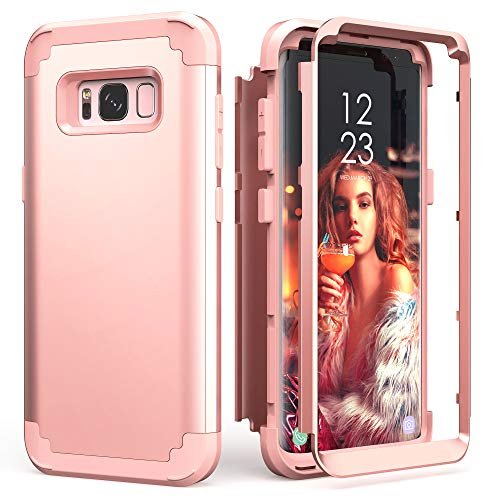 Galaxy S8 Case, Galaxy S8 Case Rose Gold for Women Girls, IDweel 3 in 1 Shockproof Slim Hybrid Heavy Duty Protection Hard PC Cover Soft Silicone Rugged Bumper Full Body Case, Rose Gold