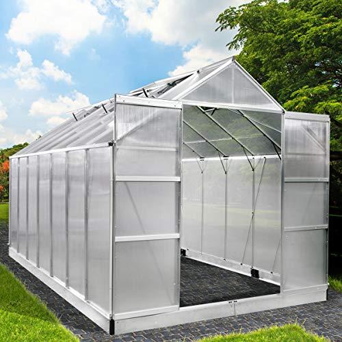 BRAST Gewächshaus Aluminium mit Fundament rostfrei 430x250x235cm Silber 6mm Platten 37 Modelle Alu Treibhaus Glashaus Tomatenhaus