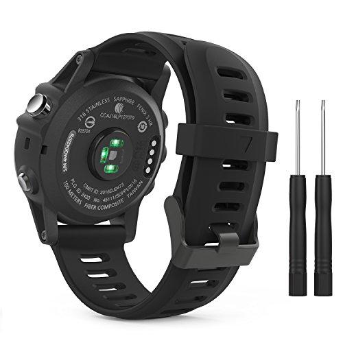 MoKo Armband für Garmin Fenix 3 / Fenix 5X Sport Watch - Silikon Sportarmband Uhr Band Strap Ersatzarmband Uhrenarmband mit Werkzeug, Schwarz