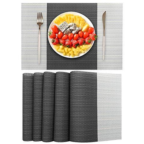 excovip Mantel Individual Resistente al Calor de PVC Manteles Antideslizantes Lavables con Textura para la decoración de la Mesa del Restaurante de la Cocina (Conjunto de 6, 45 × 30 cm)