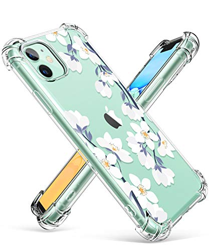 GVIEWIN iPhone 11 Case,Clear Flower Design Soft&Flexible TPU Thin Shockproof Transparent Bumper Protective Floral Cover…