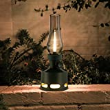 Tubicen Rechargeable Cordless Table Lamp, 4000mAh Battery Operated Oil Lantern, Blow/Tilt Off Smart Control, Vintage Flameless LED Kerosene Lamp, 10-Way Dimmable Desk Lamp, Green