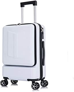 Password Travel Trolley Female Front and Rear Open Suitcase Computer Travel White 20 inch
