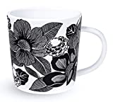 Vera Bradley Black/White Floral Ceramic Coffee Mug/Tea Cup, Dishwasher and Microwave Safe, 12 Ounces, Bedford Blooms White