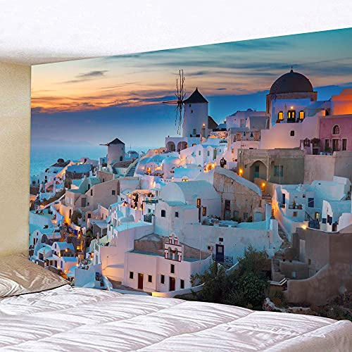 Tapiz de mar azul tapiz de belleza paisaje mar Egeo colgante de pared arte tapiz dormitorio decoración tela de fondo A4 150x200cm