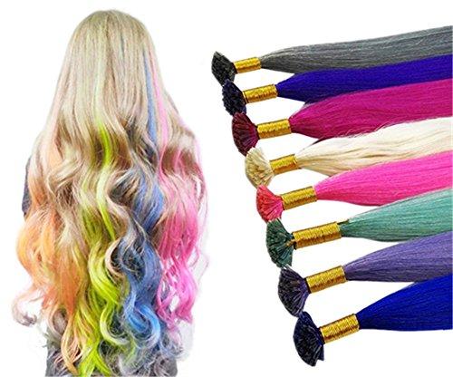 Remmehi 20fili colorati party highlight straight pre Bonded Remy extension capelli a forma di croce (55,9cm 20S 0.5g/s)