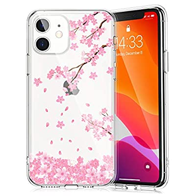 Clear Case with Floral Pattern Design for iPhone 11 6.1 Inch 2019, Raised Edges Hard PC Back + Soft TPU Bumper Protective Phone Cover for iPhone 11 - Pink Cherry Blossom