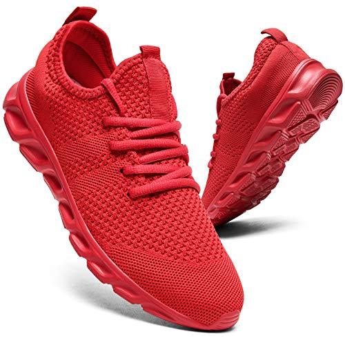 Zapatillas de correr para hombre, para caminar, tenis, deporte, de peso ligero, gimnasio, fitness, correr, casual, zapatillas de deporte para hombres, color Rojo, talla 44 EU