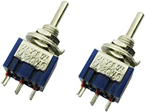 Musiclily AC 125V 6A 6 Pin SPDT On/Off/On 3-Way Mini Toggle Switch for Electric Guitar Parts, Blue (Pack of 2)