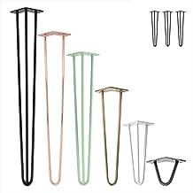 3x Natural Goods Berlin Hairpin Leg tafelpoten, 12 mm staal, vele kleuren, alle maten, 45 cm/2 stutten (wit)