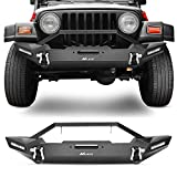Nilight Front Bumper Compatible for 87-06 Jeep Wrangler TJ & YJ Rock Crawler Bumper with 2 x LED Lights, Winch Plate and 2 x D-Rings,Upgraded Textured Black,2 Years Warranty