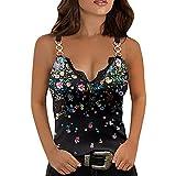 Liably Y2k - Camiseta de tirantes para mujer con estampado New Sexy Lace Verano Allgleiches Tank Tops Elegante Clásico Tops básicos de adolescentes y chicas Casual Blusa Crop Tops Rosa. L