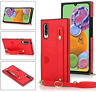LINSMAO Cover Case for Samsung Galaxy A90 5G, Crossbody Purse/Clutch Leather Wallet Case Bag [Detachable Lanyard Card Hold...