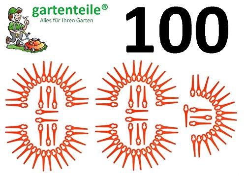 100 Ersatz Messer passend für IKRA Hurricane HATI 18 Li Akku Rasentrimmer/Messer/Messerchen/Plastikmesser/Trimmermesser