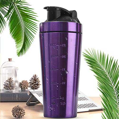 ZENING 1L Stainless Steel Protein Shaker Bottle with Stirring Ball Durable Mug Water Cup Fitness Motion Kettle Leak-Proof Double Scale Water Bottle Tableware