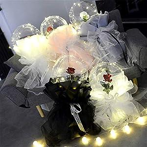 Nestlie LED Luminous Balloon-Rose Bouquet,Led Light Transparent Balloon with Rose Flower,Romantic Artificial Flowers – DIY Balloon Light Bouquet for Xmas,Birthday Gift, Party Wedding(1PC)