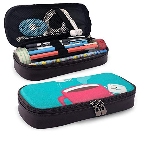 Süßer Kaffeezucker Leder Mäppchen Schlampermäppchen Stiftetasche Storage Bag Federmäppchen Schreibtisch-Organizer Für Schule Büro
