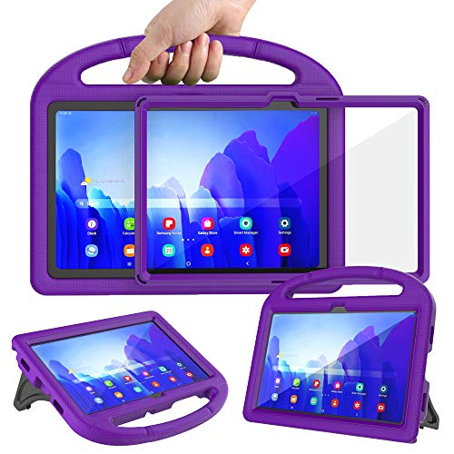 Surom Kids Case with Built-in Screen Protector for Samsung Galaxy Tab A7 10.4' 2020 (Model SM-T500/T505/T507), Light Weight Shockproof Handle Stand Protective Case for Tab A7 10.4 Inch 2020, Purple