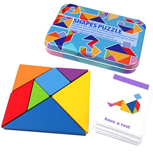 Opplei Houten tangrams puzzels, 17 x 12 x 3 cm ijzeren box houtkleurige puzzel educatief geschenk voor baby's, tangram puzzel intelligent kleurrijk 3D Russisch blokspel