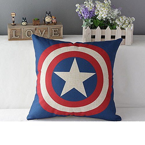 UChange The Avengers Pillow Case Cushion Cover Ironman Superman Green Lantern Batman Captain America Spider-Man Deformation Jin Gangbo pie Transformers decepticons for Collector (Captain America)