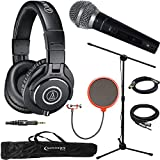 Audio-Technica ATH-M40x Professional Studio Monitor Wired Headphone Black & Technical Pro Microphone Bundle Includes Headphones, Microphone, Stand, Holder, XLR Cables, Case and Wind Screen