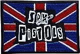 Cameleon-Shop 5,8 x 8,7 cm Sex Pistols Haarnadel Flagge Großbritanniens Blau Weiß Weiß Rot Patch Flag Aufnäher zum Aufbügeln