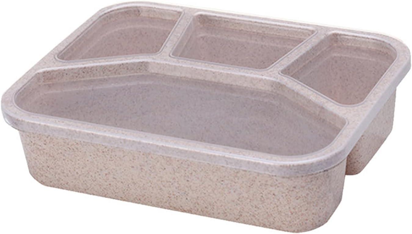Caja bento, Reutilizable 4-Compartimento plástico Dividido Almacenamiento de Alimentos Cajas de contenedores Estudiante niños Alimentos Caja de Almacenamiento vajilla (Color : A)