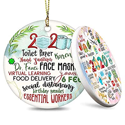 JSJOY 2020 Christmas Ornament Year of Quarantine Two-Side Printed Christmas Tree Decor 2020 Ornaments Gifts for Home Decor Christmas Decorations Circle Ceramic