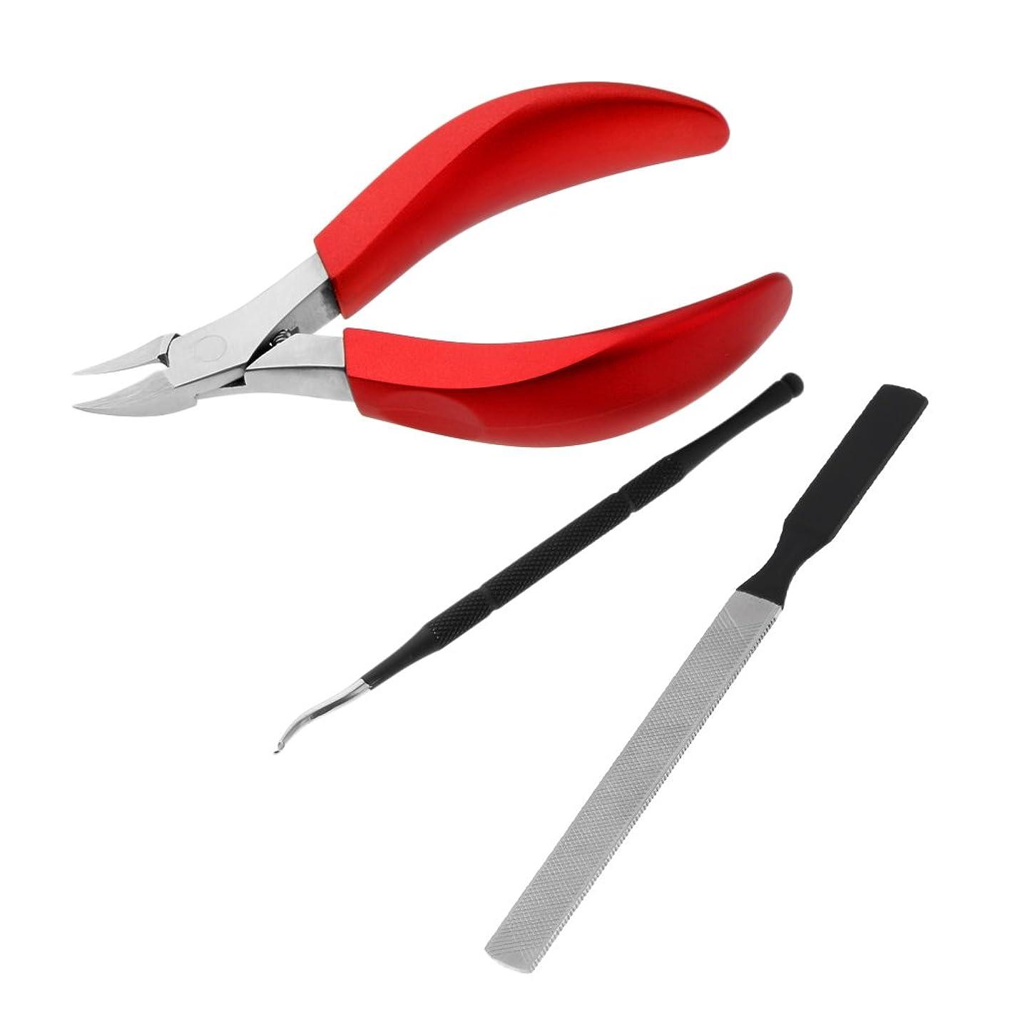 宗教的なアカデミックスパンFenteer キューティクルニッパー キューティクルプッシャー ネイルファイル 甘皮ニッパー ネイルアート ステンレス製 耐久性 ネイルカッター 3点入り 3色選べる - 赤