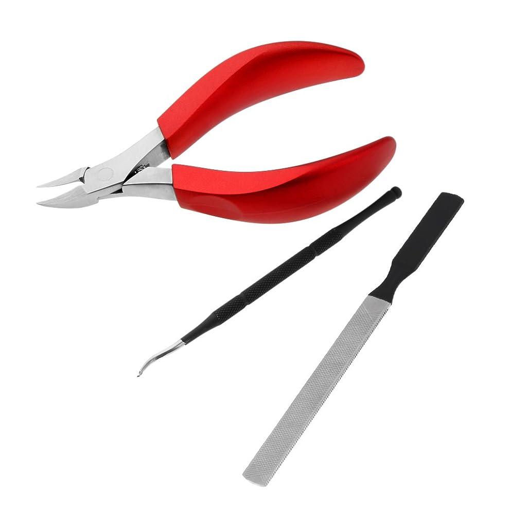可愛いはねかける逆説Fenteer キューティクルニッパー キューティクルプッシャー ネイルファイル 甘皮ニッパー ネイルアート ステンレス製 耐久性 ネイルカッター 3点入り 3色選べる - 赤