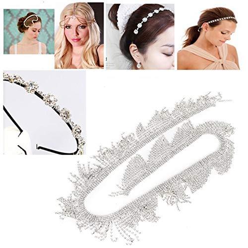 Klädtillbehör, Crystal Tassel Rhinestone Chain, för dekoration för DIY-hantverk(7cm wide rhinestone tassel chain 1 yard)