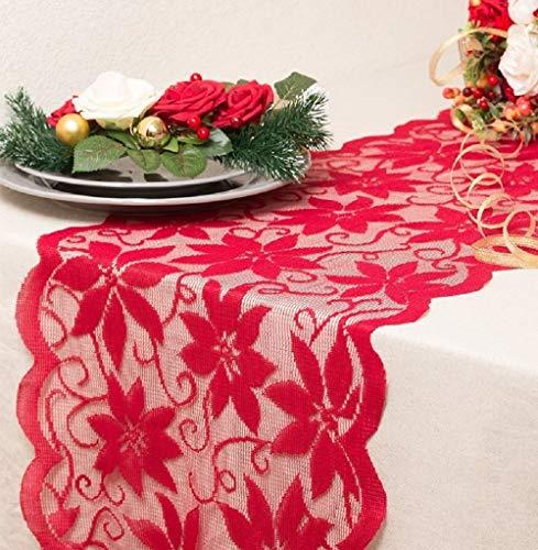 JOMAE Shop Camino de Mesa de Encaje de Navidad, Mantel Individual para Bodas, Festivales, Fiestas, centros de Mesa, decoración del hogar, 13 x 72 Pulgadas