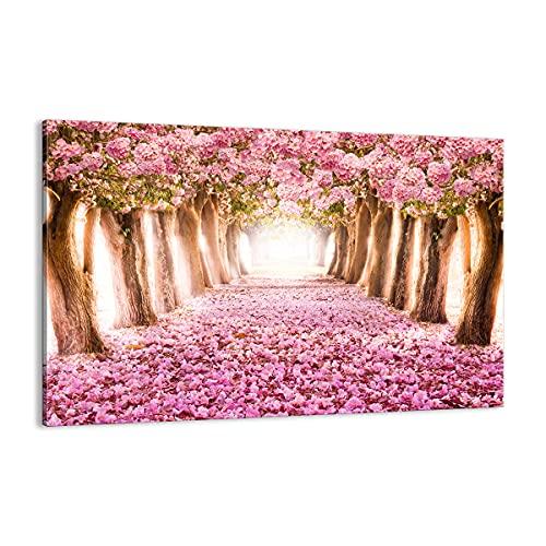 Quadro su tela - Elemento unico - Albero fiori ciliegia natura - 120x80cm - Pronto da appendere - Home Decor - Stampe su Tela - Quadri Moderni - completamente incorniciato - AA120x80-2794