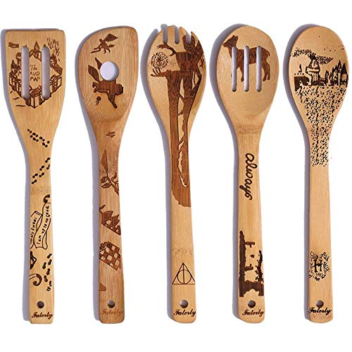 Organic Bamboo Wooden Spoons for Cooking Personalized Magic Pattern Kitchen Burned Utensils Spatula Household Items Non-stick Kitchen Cookware Ideal Gift for Foodies and Chef(5 Pieces)