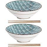 Sayopin 2X Ciotola Ramen in Ceramica Giapponese, Zuppa Creativa con Bacchette, Ciotola Grande Tagliatelle Vintage 900ml, personalità Ramenbowls per Cereali, Pasta, Tagliatelle, Antipasto, ECC.