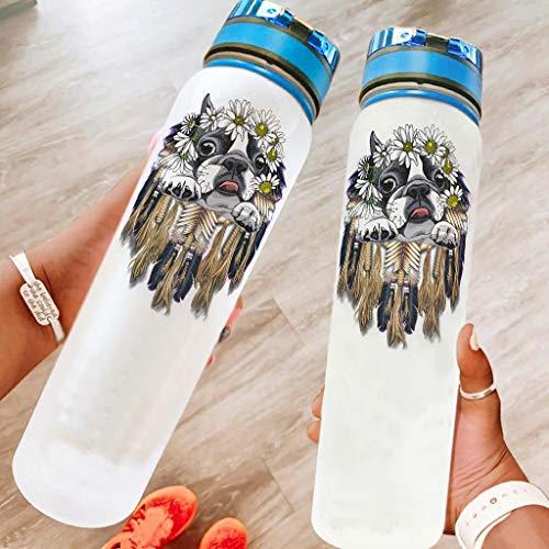 Annlotte Botellas de agua – Dreamcatcher Perro de flores libre de tritán de cuello ancho a prueba de fugas, botella de agua deportiva para fitness y exterior, color blanco, 1000 ml