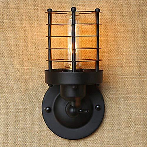 SWNN Night Light LED De Hierro Forjado Cobre Retro Cable Cilíndrico Envolvente País/Choza/País Lámpara De Pared Lámpara De Pared De Metal Lámparas De Iluminación 40W (Color : Black)