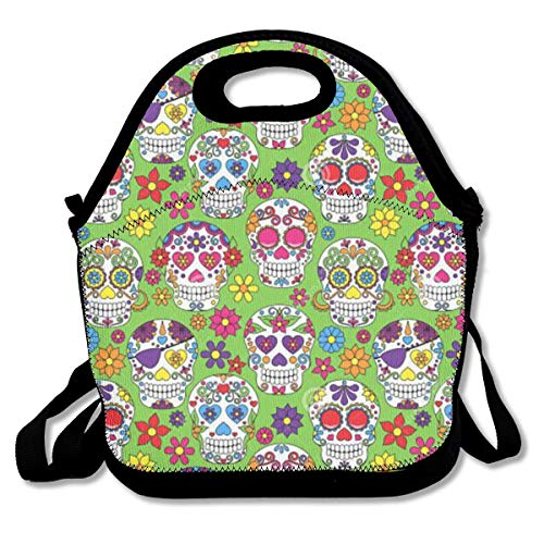 LPoxsmovw SWDGYW36 Green Colorful Sugar Skull Lunch Bag Lunch Tote Lunch Pouch Handbag Made for Women Men and Kids Handbag for School Office