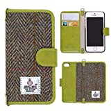 MONOJOY Phone SE Case Phone 5 5s Wallet Leather Cover, Flip Folio Book Shell with Magnetic Clasp, Harris Tweed Credit Card Holder Money Pouch (Phone 5/5s/se (4.0' ), Green)
