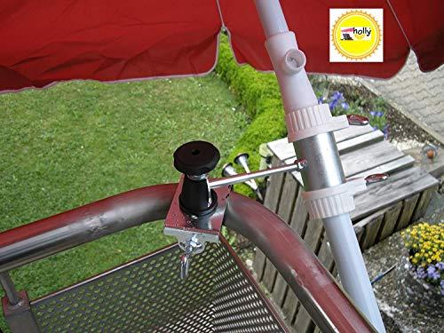 1 pièce – Balcon schirmh vieillissement avec 11 + 6 cm Distance Porte-parapluie – Holly breveté – pour fixation au ronde ou eckigen Éléments de 25 à 42 mm avec 5 – réglable multi – Support rotatif à 360 ° avec capuchons en caoutchouc pour une fixation kratzfreien – Innovations fabriqué en Allemagne – Holly® produits Stabielo Holly-Sunshade® – pour écrans sur 2,50 cm Ø – 2 supports ou 2 TE Fixation utiliser pour des raisons de sécurité (serre-câbles)