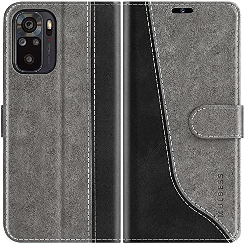 Mulbess Handyhülle Kompatibel mit Xiaomi Redmi Note 10 Hülle, Xiaomi Redmi Note 10 Hülle Leder, Etui Flip Handytasche Schutzhülle für Xiaomi Redmi Note 10 Hülle, Grau
