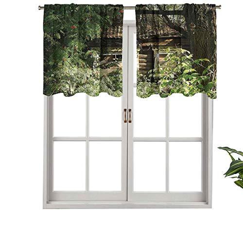 Hiiiman Cenefa de alta calidad con bolsillo para barra de cortina, diseño de casita de roble en arbustos, helechos, madera, camuflaje, juego de 1, 127 x 45 cm para decoración de interiores
