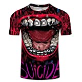Camisetas Manga Corta Hombre Camiseta con Estampado De Calavera 3D Top Suelto De Manga Corta De Verano-A_XXL
