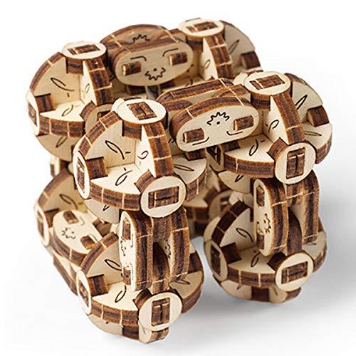 UGEARS Flexi Cubus – 3D Holz-Puzzle – Mechanischer Flexi Würfel – Anti-Stress 3D-Puzzle – Verbessert Aufmerksamkeit und Konzentration – Selbstmontage Modell – 144 Teile Bausatz