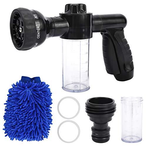 KUNTEC Foam Sprayer Garden Hose Spray Nozzle Car Wash Foam Gun 8 Way Spray Pattern with 100cc Soap Dispenser Bottle Car Washing, Plants Watering and Pets Showering
