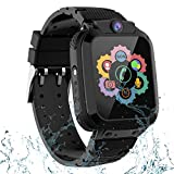 Kids Waterproof Smart Watch for Boys Girls,Students Touch Screen Smartwatch with 2 Way Call Voice Chat One Key SOS for Help Clock Camera, Gift for Childrens Back to School (S12 Waterproof LBS Black)